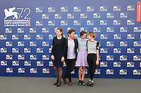 From left, Gina McKee, Nicolas Saada, Stacy Martin and Alba Rohrwacher attend a photocall for the movie 'Taj Mahal' during the 72nd Venice Film Festival at the Palazzo Del Cinema in Venice, Italy, September 10, 2015.<br /> UPDATE IMAGES PRESS/Stephen Richie