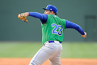 Relief pitcher Kevin Perez (23) of the Lexington Legends in a game against the Greenville Drive on Sunday, April 27, 2014, at Fluor Field at the West End in Greenville, South Carolina. Greenville won, 21-6. (Tom Priddy/Four Seam Images)
