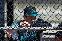 Jack Carver (13) of Ponte Vedra, Florida during the Baseball Factory All-America Pre-Season Rookie Tournament, powered by Under Armour, on January 14, 2018 at Lake Myrtle Sports Complex in Auburndale, Florida.  (Michael Johnson/Four Seam Images)