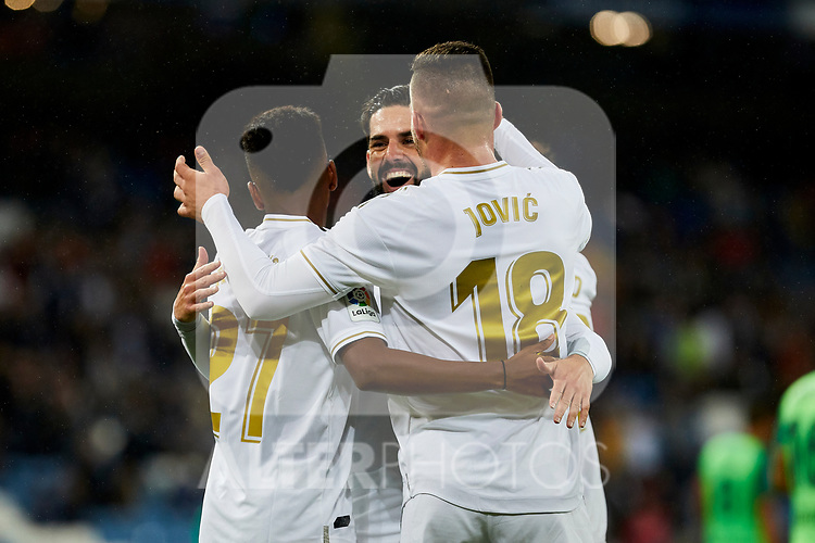 (L-R) Rodrygo Goes, Francisco Alarcon 'Isco' and Luka Jovic of Real Madrid celebrate goal during La Liga match between Real Madrid and CD Leganes at Santiago Bernabeu Stadium in Madrid, Spain. October 30, 2019. (ALTERPHOTOS/A. Perez Meca)
