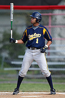 """May 10,2010:  Shortstop Chris """"Cito"""" Culver (1) of the Irondequoit Eagles at bat in a game vs. the Canandaigua Braves during a Monroe County regular season game at Evans Field in Canandaigua, NY.  The game was called with a 19-19 score after 7 innings because of darkness.  Photo by Mike Janes/Four Seam Images"""