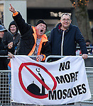 "© Joel Goodman - 07973 332324 . 26/11/2016 . Bolton , UK . Those opposed to mosques pictured at the demonstration . Approximately 100 people attend a demonstration against the construction of mosques in Bolton , under the banner "" No More Mosques "" , organised by a coalition of far-right organisations and approximately 150 anti fascists opposing the demonstration , in Victoria Square in Bolton Town Centre . Photo credit : Joel Goodman"