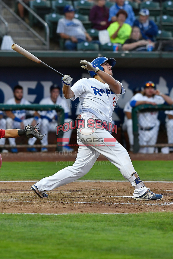 Nick Yarnall (21) of the Ogden Raptors follows through on his swing against the Orem Owlz during the Pioneer League game at Lindquist Field on September 9, 2016 in Ogden, Utah. This was Game 1 of the Southern Division playoff. Orem defeated Ogden 6-5. (Stephen Smith/Four Seam Images)