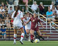 Newton, Massachusetts - September 6, 2015: NCAA Division I. In overtime, St John's University (white) defeated Boston College (maroon), 2-1, at Newton Campus Soccer Field.