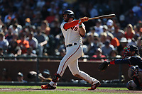 SAN FRANCISCO, CA - SEPTEMBER 19:  Evan Longoria #10 of the San Francisco Giants bats against the Atlanta Braves during the game at Oracle Park on Sunday, September 19, 2021 in San Francisco, California. (Photo by Brad Mangin)