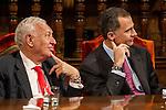 Spanish king, Felipe VI, spanish external subjects minister, José Manuel García-Margallo before the Quevedos iberoamerican award of grafic humor 2014. May 26,2016. (ALTERPHOTOS/Rodrigo Jimenez)