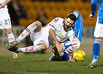 St Johnstone v Inverness Caley Thistle…09.03.16  SPFL McDiarmid Park, Perth<br />Ross Draper is fouled bt Steven MacLean<br />Picture by Graeme Hart.<br />Copyright Perthshire Picture Agency<br />Tel: 01738 623350  Mobile: 07990 594431