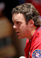 11 June 2006: Shawn Hill, pitcher for the Washington Nationals, takes a breather in the dugout during a game against the Philadelphia Phillies at RFK Stadium, in Washington, DC. The Nationals shut out the visiting Phillies 6-0 to take the series three games to one...Mandatory Photo Credit: Ed Wolfstein Photo..