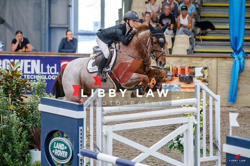 NZL-Briar Burnett-Grant rides Fiber Fresh Veroana. Final-3rd. Class 22: Fiber Fresh Horse 1.40m Ranking Class. 2021 NZL-Easter Jumping Festival presented by McIntosh Global Equestrian and Equestrian Entries. NEC Taupo. Saturday 3 April. Copyright Photo: Libby Law Photography