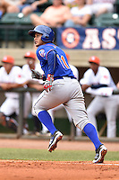Kingsport Mets catcher Dionis Rodriguez (11) rounds the bases after hitting a home run during a game against the Greeneville Astros at Pioneer Park on July 3, 2016 in Greeneville, Tennessee. The Mets defeated the Astros 11-0. (Tony Farlow/Four Seam Images)