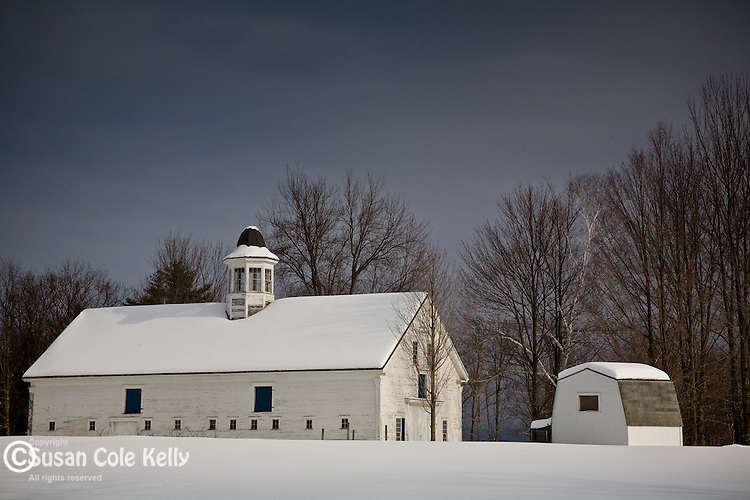A winter sky over Longlook Farm in Ossipee, Lakes region, NH, USA