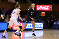DURHAM, NC - NOVEMBER 29: Kendall Grasela #11 of the University of Pennsylvania dribbles the ball during a game between Penn and Duke at Cameron Indoor Stadium on November 29, 2019 in Durham, North Carolina.
