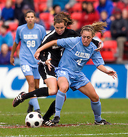 Meghan Klingenberg, Caitlin McDowell. UNC defeated Maryland, 1-0, during the regular season finale at College Park, Maryland.