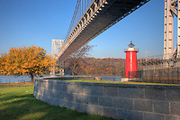 Jeffrey's Hook Lighthouse on the Hudson River, under the George Washington Bridge