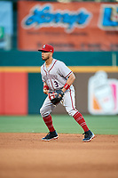 Syracuse Chiefs second baseman Bengie Gonzalez (3) during a game against the Buffalo Bisons on July 6, 2018 at Coca-Cola Field in Buffalo, New York.  Buffalo defeated Syracuse 6-4.  (Mike Janes/Four Seam Images)