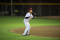 Idaho Falls Chukars shortstop Offerman Collado (0) prepares to field a ball during a Pioneer League game against the Great Falls Voyagers at Melaleuca Field on August 18, 2018 in Idaho Falls, Idaho. The Idaho Falls Chukars defeated the Great Falls Voyagers by a score of 6-5. (Zachary Lucy/Four Seam Images)