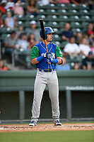 Designated hitter Sebastian Rivero (3) of the Lexington Legends at bat during a game against the Greenville Drive on Saturday, September 1, 2018, at Fluor Field at the West End in Greenville, South Carolina. Greenville won, 9-6. (Tom Priddy/Four Seam Images)