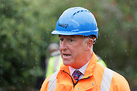 Pictured: Phil Kelly, root director for Network Rail Wales and Borders and Group Manager during a press conference near the scene of the train fire in Llangennech, Wales, UK. Thursday 27 August 2020<br /> Re: A freight train carrying diesel has derailed and burst into flames in Llangennech, near Llanelli, Wales, UK.<br /> People living nearby in Carmarthenshire, were evacuated but have since returned to their homes.<br /> Police declared a major incident, put a cordon in place and closed roads.<br /> The two workers who were on board the train have been accounted for and no injuries have been reported according  to the British Transport Police.