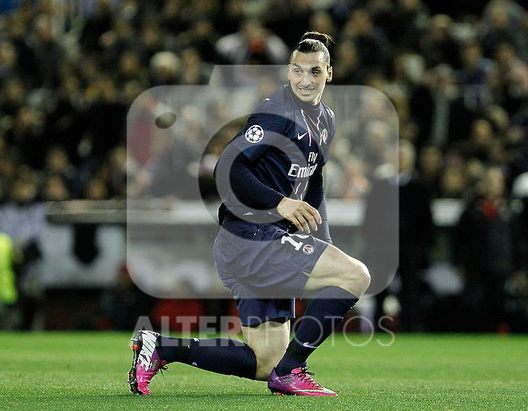 Paris Saint-Germain's Zlatan Ibrahimovic during Champions League 2012/2013 match.February 12,2013. (ALTERPHOTOS/Acero)