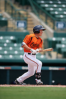 GCL Orioles pinch hitter Guiyuan Xu (21) grounds out during a game against the GCL Rays on July 21, 2017 at Ed Smith Stadium in Sarasota, Florida.  GCL Orioles defeated the GCL Rays 9-0.  (Mike Janes/Four Seam Images)