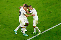 Nicolo Barella of Italy celebrates withLorenzo Insigne and Marco Verratti after scoring the goal of 0-1 during the Uefa Euro 2020 round of 8 football match between Belgium and Italy at football arena in Munich (Germany), July 2nd, 2021. Photo Matteo Ciambelli / Insidefoto