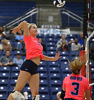 Kat Cooper (10) of Har-ber goes up for Spike on Tuesday, October 12, 2021, during play at Wildcat Arena, Springdale. Visit nwaonline.com/211013Daily/ for today's photo gallery.<br /> (Special to the NWA Democrat-Gazette/David Beach)