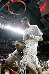 Real Madrid's Rudy Fernandez (t) and Salah Mejri celebrate the victory in the Euroleague Final Match. May 15,2015. (ALTERPHOTOS/Acero)
