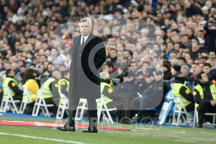 Real Madrid´s coach Carlo Ancelotti during King´s Cup (Copa del Rey) semifinal match in Santiago Bernabeu stadium in Madrid, Spain. February 05, 2014. (ALTERPHOTOS/Victor Blanco)