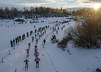 Competitors in the Men's 30Km Classic approach the bridge during the 2018 U.S. National Cross Country Ski Championships at Kincaid Park in Anchorage.