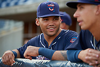 Jacksonville Jumbo Shrimp Justin Twine (11) in the dugout before a game against the Pensacola Blue Wahoos on August 15, 2018 at Blue Wahoos Stadium in Pensacola, Florida.  Jacksonville defeated Pensacola 9-2.  (Mike Janes/Four Seam Images)