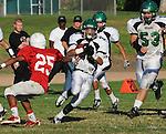 Football action. Runningback cuts against the grain for a good gain.