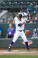 Blake Rutherford (9) of the Winston-Salem Dash at bat against the Salem Red Sox at BB&T Ballpark on April 22, 2018 in Winston-Salem, North Carolina.  The Red Sox defeated the Dash 6-4 in 10 innings.  (Brian Westerholt/Four Seam Images)