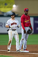 Jupiter Hammerheads J.D. Orr (12) and third baseman Jordan Walker (37) during a game against the Palm Beach Cardinals on May 11, 2021 at Roger Dean Chevrolet Stadium in Jupiter, Florida.  (Mike Janes/Four Seam Images)