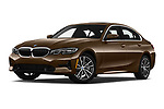 Stock pictures of low aggressive front three quarter view of 2019 BMW 3-Series-Sedan 330i-Sport-Line 4 Door Sedan Low Aggressive