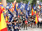 "Manifestation of far-right group , Hogar Social Madrid under the slogan "" Defend Spain , defend your people "", in the streets of Gran Via , San Bernardo and Plaza Dos de Mayo.  May 21, 2016. (ALTERPHOTOS/Rodrigo Jimenez)"