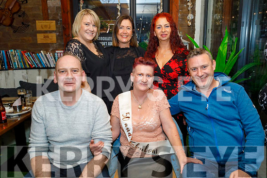 Avril Connor from Tralee celebrating her 50th birthday on Saturday. Seated l to r: Dermot and Avril Connor and Ronan Kenneally. Back l to r: Aoife Connor, Grainne Kenneally and Audrey Fitzgerald.