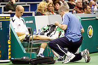 22-2-07,Tennis,Netherlands,Rotterdam,ABNAMROWTT, Davydenko is being taped arround his enkel