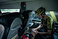 Adam Yates (GBR/Mitchelton-Scott) at the race start in Saint-Jean-de-Maurienne<br /> <br /> Stage 19: Saint-Jean-de-Maurienne to Tignes (126km)<br /> 106th Tour de France 2019 (2.UWT)<br /> <br /> ©kramon