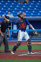 Catcher Grayson Hollingsworth (27) of Belton Honea-Path High School (SC) playing for the New York Mets scout team during game three of the South Atlantic Border Battle at Truist Point on September 26, 2020 in High Pont, NC. (Brian Westerholt/Four Seam Images)