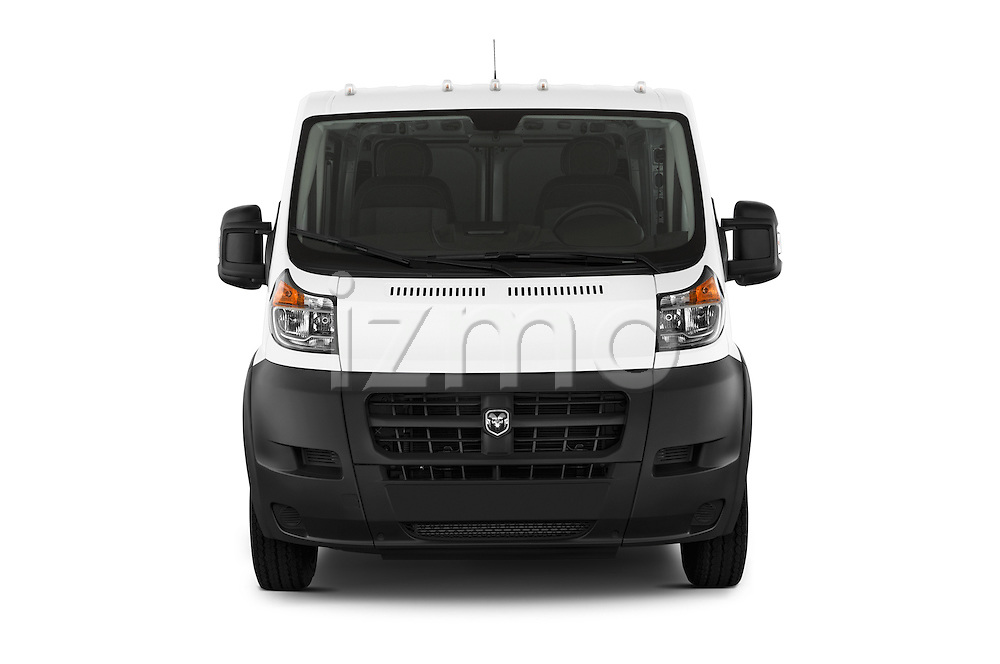 Car photography straight front view of a2017 Ram Promaster 1500 136 WB Low Roof 3 Door Cargo Van Front View