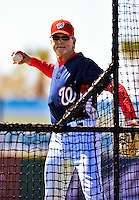 8 March 2010: Washington Nationals' first base coach Dan Radison tosses batting practice prior to a Spring Training game against the Florida Marlins at Space Coast Stadium in Viera, Florida. The Marlins defeated the Nationals 12-2 in Grapefruit League action. Mandatory Credit: Ed Wolfstein Photo