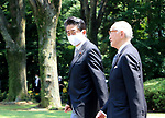 August 15, 2020, Tokyo, Japan - Japanese Prime Minister Shinzo Abe leaves the Chitorigafuchi National Cemetrery after he offered a flower bouquet to war victims in Tokyo on Saturday, August 15, 2020. Japan marked the 75th anniversary of its surrender of World War II.        (Photo by Yoshio Tsunoda/AFLO)