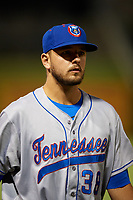 Tennessee Smokies pitcher Jordan Minch (38) after a game against the Birmingham Barons on August 16, 2018 at Regions FIeld in Birmingham, Alabama.  Tennessee defeated Birmingham 11-1.  (Mike Janes/Four Seam Images)