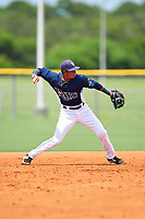 GCL Rays shortstop Luis Leon (1) throws to first base during the first game of a doubleheader against the GCL Twins on July 18, 2017 at Charlotte Sports Park in Port Charlotte, Florida.  GCL Twins defeated the GCL Rays 11-5 in a continuation of a game that was suspended on July 17th at CenturyLink Sports Complex in Fort Myers, Florida due to inclement weather.  (Mike Janes/Four Seam Images)