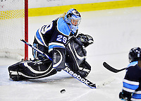 23 November 2011: University of Maine Black Bears' goaltender Brittany Ott, a Junior from St. Clair Shores, MI, in action against the University of Vermont Catamounts at Gutterson Fieldhouse in Burlington, Vermont. The Lady Bears defeated the Lady Cats 5-2 in Hockey East play. Mandatory Credit: Ed Wolfstein Photo