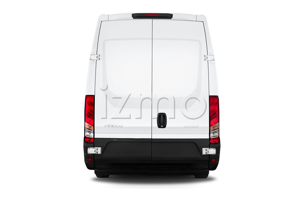 Straight rear view of a 2018 Iveco Daily 35S 4 Door Cargo Van stock images