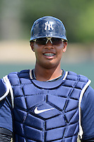 GCL Yankees 2 catcher Roybell Herrera (90) during practice before a game against the GCL Phillies on July 22, 2013 at Carpenter Complex in Clearwater, Florida.  GCL Yankees defeated the GCL Phillies 2-1.  (Mike Janes/Four Seam Images)