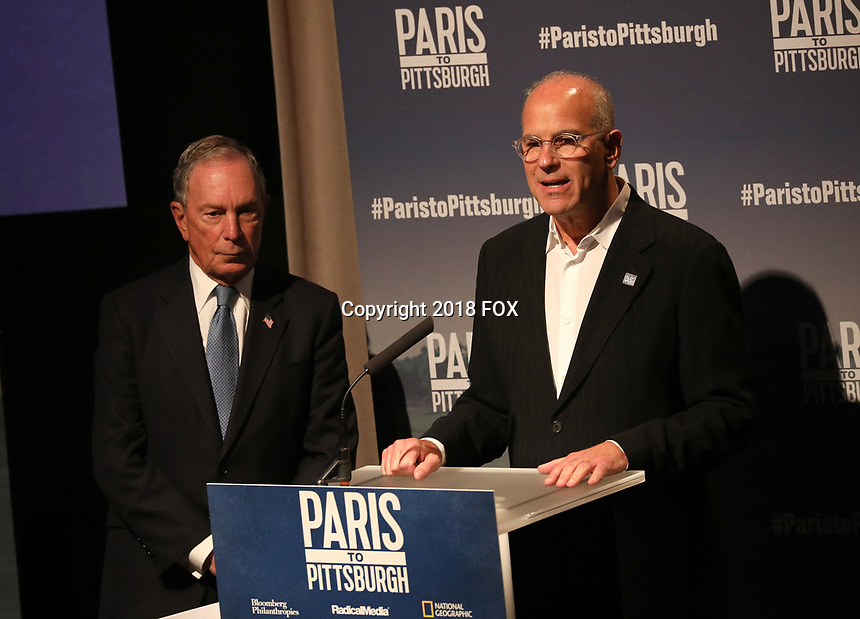 """LONDON, UK - DECEMBER 11:  Michael Bloomberg and Jon Kamen attend the London Premiere of Bloomberg and National Geographic's """"Paris to Pittsburgh"""" at the BAFTA Theatre on December 11, 2018 in London, UK. (Photo by Vianney Le Caer/National Geographic/PictureGroup)"""