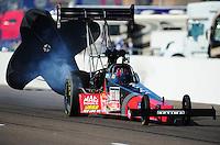 Feb. 18, 2012; Chandler, AZ, USA; NHRA top fuel dragster driver David Grubnic during qualifying for the Arizona Nationals at Firebird International Raceway. Mandatory Credit: Mark J. Rebilas-