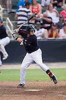 Brett Austin (10) of the Kannapolis Intimidators at bat against the Delmarva Shorebirds at CMC-NorthEast Stadium on July 3, 2014 in Kannapolis, North Carolina.  The Shorebirds defeated the Intimidators 6-5. (Brian Westerholt/Four Seam Images)